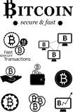 Bitcoin design elements. Vector illustration of bitcoin design elements, badges, labels and logos Stock Images