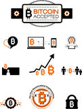 Bitcoin design elements. Vector illustration of bitcoin design elements, badges, labels and logos. In black and orange colours with white background Royalty Free Stock Images