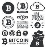 Bitcoin designbeståndsdelar och etiketter Fotografering för Bildbyråer
