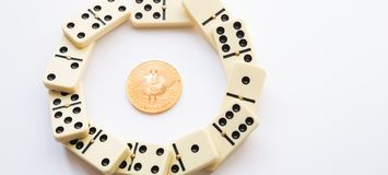 Bitcoin destroys the system. Domino effect shot in circle form. Bitcoin destroyed financial anonymity. Domino effect shot on the white background Royalty Free Stock Image