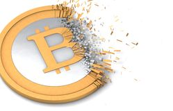 Bitcoin destruction. Bitcoin coin which is under destruction Royalty Free Stock Photo