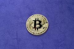 Bitcoin di Digital su un fondo porpora fotografia stock