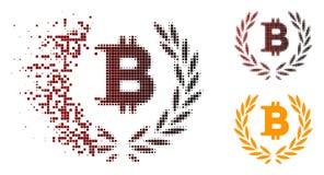 Bitcoin di semitono punteggiato rotto Laurel Wreath Icon Illustrazione Vettoriale