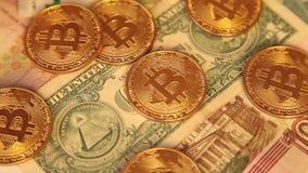 Bitcoin di valuta di Cripto Dollaro americano, euro archivi video