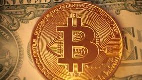 Bitcoin di valuta di Cripto Dollaro americano, euro stock footage