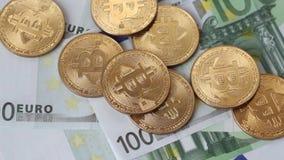 Bitcoin di valuta di Cripto euro 100 archivi video