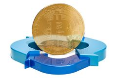 Bitcoin with diagram from arrows, 3D rendering. Isolated on white background Stock Images