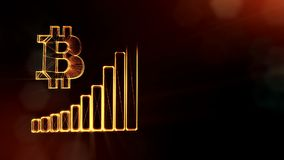 Sign of Bitcoin and diagram. Financial background made of glow particles as vitrtual hologram. Shiny 3D loop animation. Bitcoin and diagram. The concept of the stock video footage