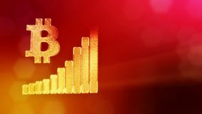 Sign of Bitcoin and diagram. Financial background made of glow particles as vitrtual hologram. Shiny 3D loop animation. Bitcoin and diagram. The concept of the stock video