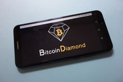 Bitcoin Diamond BCD cryptocurrency logo displayed on smartphone. KONSKIE, POLAND - November 17, 2018: Bitcoin Diamond BCD cryptocurrency logo displayed on stock photography