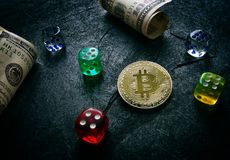 Bitcoin dice and money Stock Photography