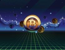 Bitcoin die in de jaren '80stijl handel drijven royalty-vrije illustratie
