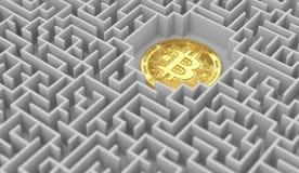 Bitcoin die ergens in het labyrint bepaalt Problemen, kwesties rond cryptocurrencies en pogingen die hen oplossen het 3d teruggev vector illustratie