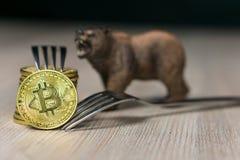Bitcoin die Nieuwe Harde Vorkverandering, Fysiek Gouden Crytocurrency-Muntstuk met vork krijgen en draagt naast het stock foto