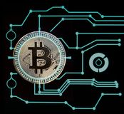 Bitcoin digital cryptocurrency Royaltyfri Bild