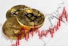 Bitcoin digital cryptocurrency. Candlesticks in form of bullets. Bitcoin digital currency and trading candlesticks in form of red bullets. Concept of bitcoin as stock photo