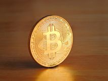 Bitcoin digital cryptocurrency gold coin Royalty Free Stock Photos