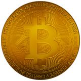 Bitcoin digital cryptocurrency. Original Bitcoin 3d in both white background and transparent. Coin prepared from scratch based on a reference b/w flat stock royalty free stock photography