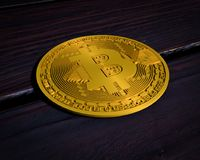 Bitcoin. Digital cryptocurrency. Rendered 3d model of bitcoin lying on the wooden table. Bitcoin a form of electronic cash stock illustration
