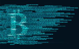 Bitcoin digital cryptocurrency sign binary code number. Big data information mining technology. Blue glowing abstract Royalty Free Stock Photos