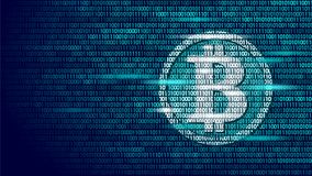 Bitcoin digital cryptocurrency sign binary code number. Big data information mining technology. Blue glowing abstract Royalty Free Stock Photography