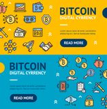 Bitcoin Digital Currency Banner Horizontal Set. Vector. Bitcoin Digital Currency Banner Horizontal Set with Color Outline Icons Electronic Coin. Vector Stock Image