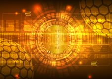 Bitcoin Digital Currency with Circuit Abstract Vector Background for Technology Business and Online Marketing Concept royalty free stock photography