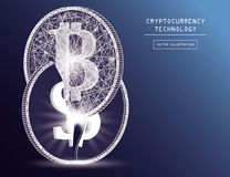 Bitcoin digital currency coin damage world finance system based on dollar concept vector illustration Royalty Free Stock Photo