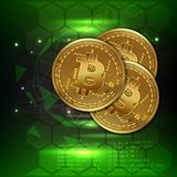 Bitcoin digital currency coin world finance system vector illustration. Royalty Free Stock Images