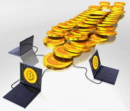 Bitcoin digital currency. Computer generated photo of a Bitcoin digital currency mining Stock Image