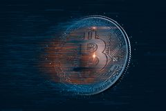 Bitcoin digital currency. 3D illustration. Contains clipping path royalty free stock photos