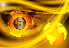 Bitcoin digital currency and earth technology concept background, vector illustration NASA Stock Photo