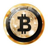 Bitcoin digital currency, gold black medal, illustration image. Royalty Free Stock Photo