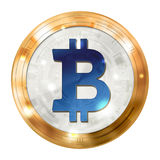 Bitcoin digital currency, gold blue medal, illustration image. Royalty Free Stock Photo