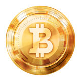 Bitcoin digital currency, gold medal, illustration image. Stock Photos