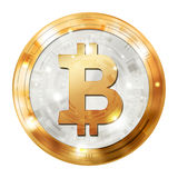 Bitcoin digital currency, gold silver medal, illustration image. Royalty Free Stock Photography