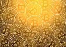 Bitcoin digital currency golden coin background Royalty Free Stock Images