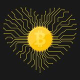 Golden Bitcoin currency. Vector illustration. Bitcoin digital currency icon with circuit board elements. Vector illustration. Bitcoin icon in a flat designs Stock Photo