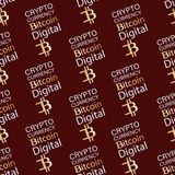 Bitcoin. Digital currency. Seamless pattern. Digital cryptographic currency. Gold cryptocurrency sign on red-brown background. Illustration of financial Royalty Free Stock Photography