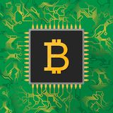 Bitcoin digital currency sign on microchip processor with gold l. Ight Stock Photography