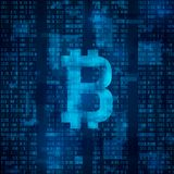 Bitcoin digital currency. Symbol of bitcoin on blue binary code. abstract background vector Stock Image