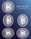 Bitcoin digital currency vector icons and symbols. Crypto currency token coins with bitcoin symbol. Peer to peer network digital payment system. Blockchain Stock Photography