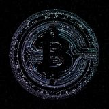 Bitcoin digital currency and world globe hologram, futuristic digital money and technology worldwide network concept.  Royalty Free Stock Images