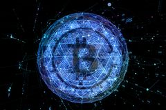 Bitcoin digital currency and world globe hologram, futuristic digital money and technology worldwide network concept.  Stock Image