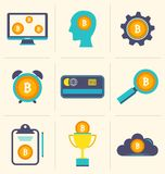 Bitcoin Digital Money, Cryptocurrency System and Mining Pool, Flat Design Icons. Illustration Vector Royalty Free Stock Images