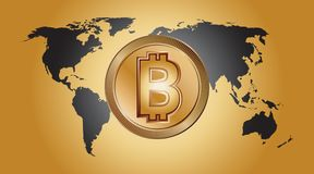 Bitcoin digital money logo. Exchange investment business sign. Electronic banking currency crypto. Gold coin blockchain internet finance. World map purchase Royalty Free Stock Photos