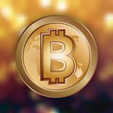 Bitcoin digital money logo. Bitcoin digital money logo on golden bokeh background. Exchange investment business sign. Electronic banking currency crypto. Gold Stock Images