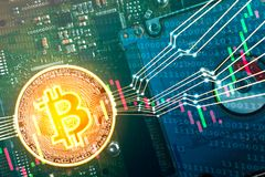 Bitcoin digital trading market concept. Bitcoin trading market concept, bitcoin on circuit board with digital lines connection, binary digit and candle stock Stock Photography