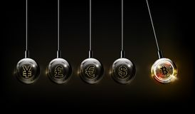 Bitcoin digital valuta, dollar, euro, pund, yen och yuan i formen av den Newton vaggan, begrepp för fintechvärldsfinans vektor illustrationer