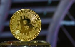 Bitcoin digital valuta eller faktiska pengar Bitcoin är den Digital byrackan Royaltyfria Bilder